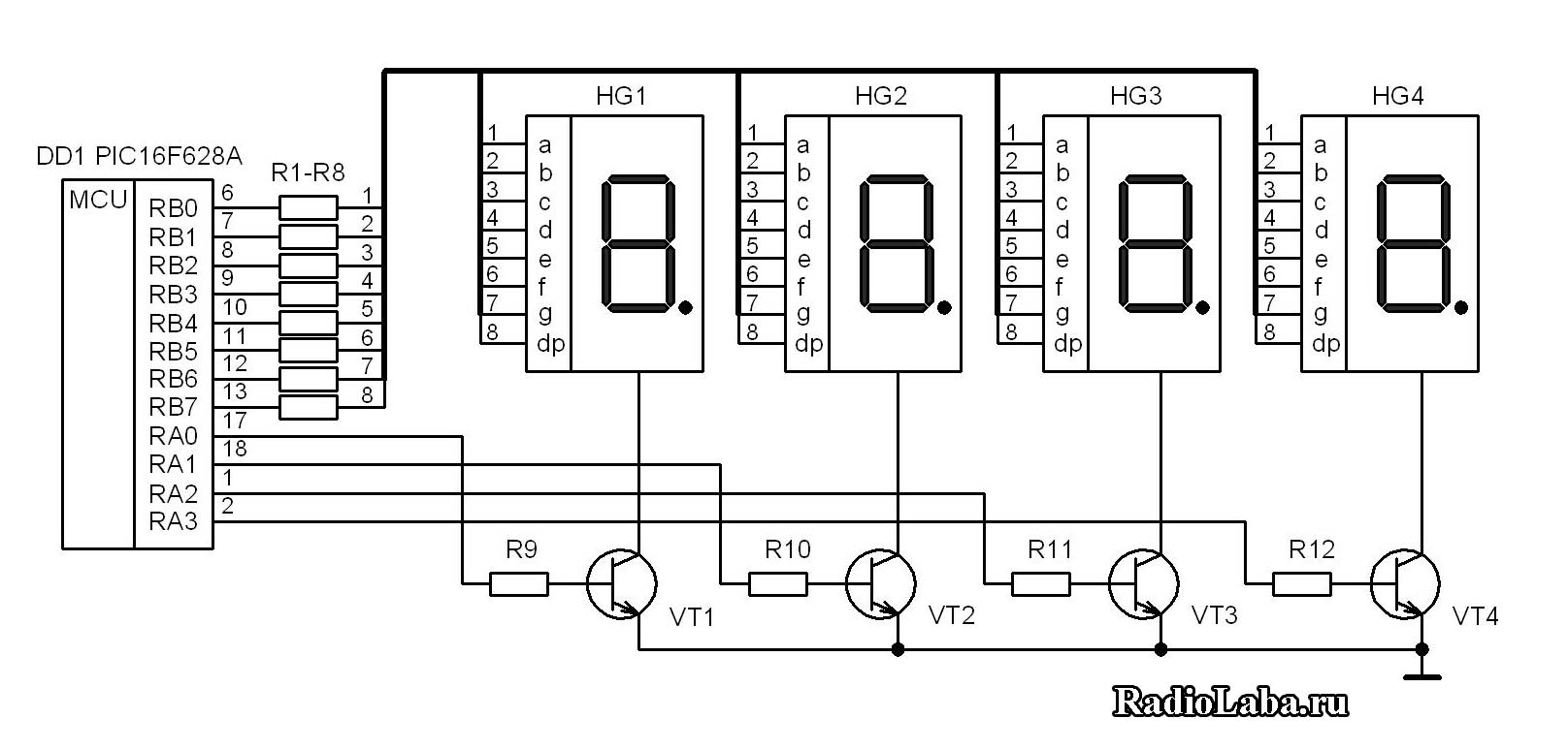 Подключение сегментного индикатора к atmega 8