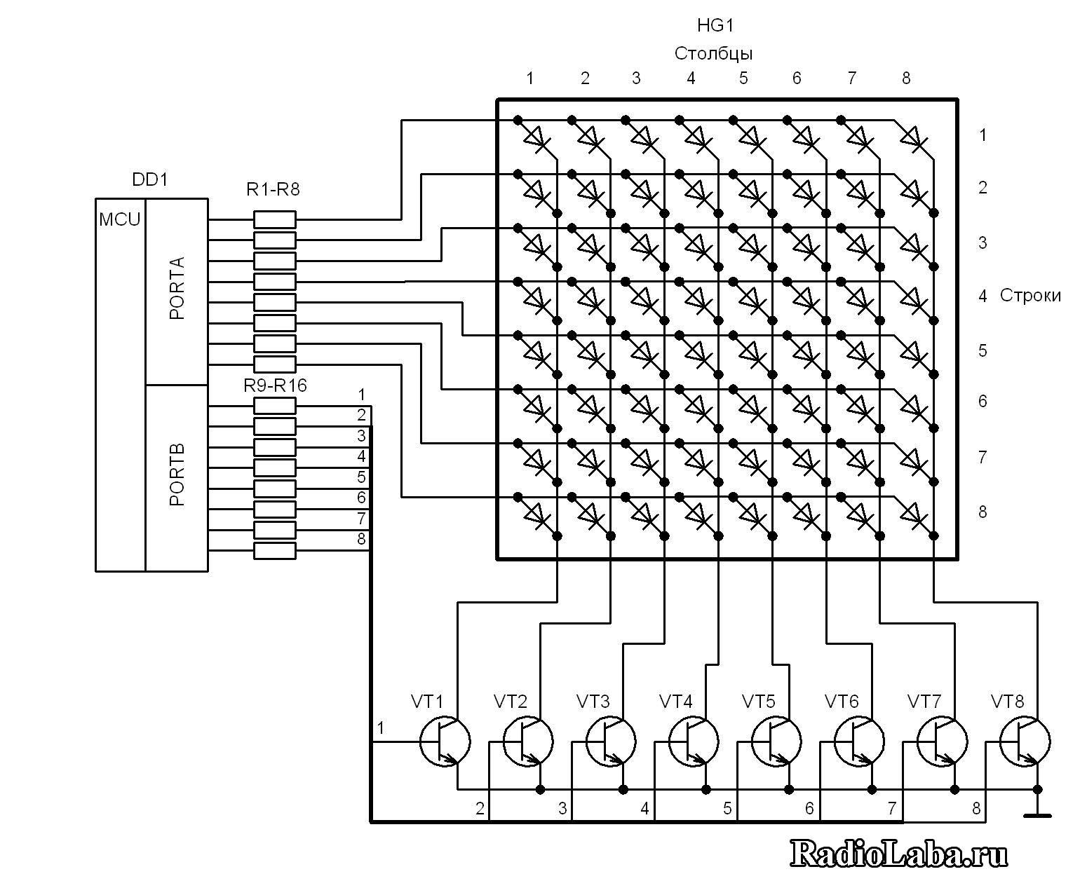 Подключение Led матрицы к микроконтроллеру