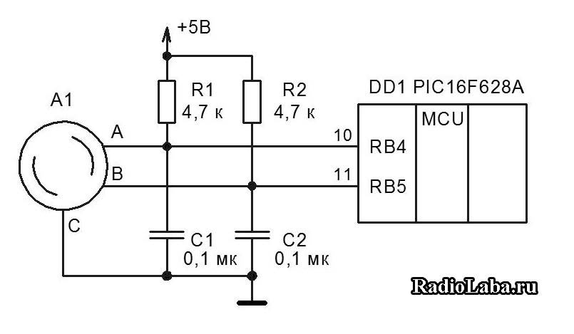 Выводы A и B энкодера