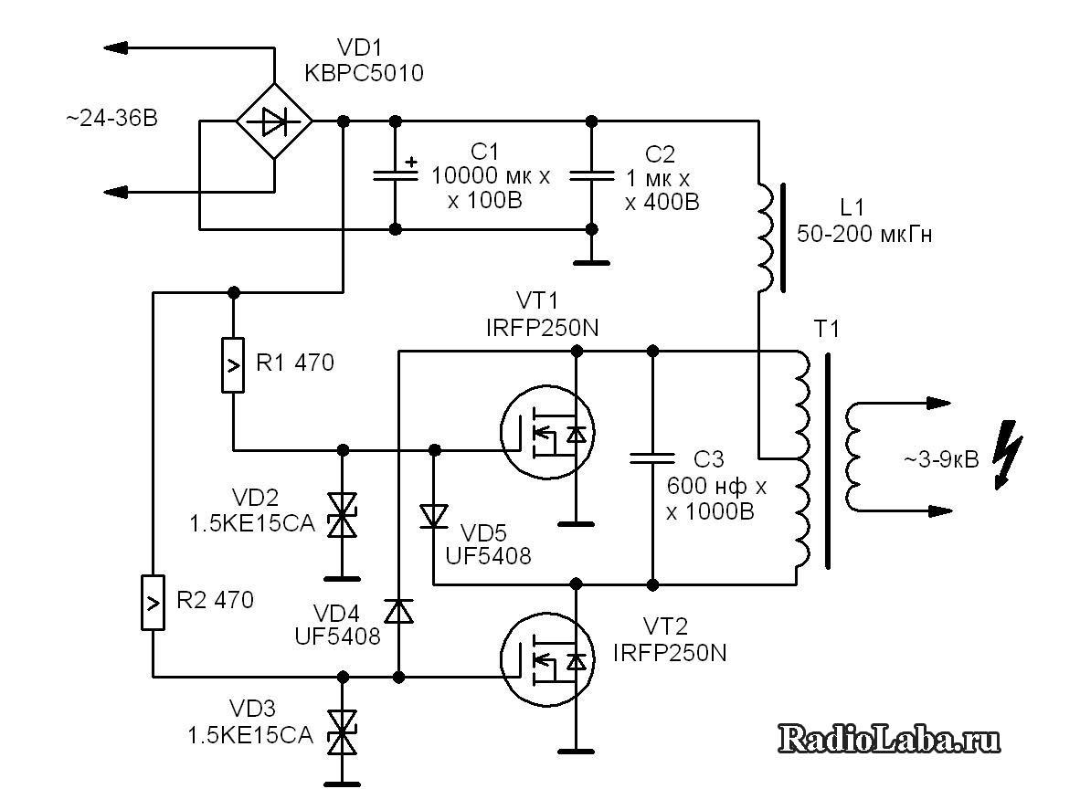 Двухтактный автогенератор, схема