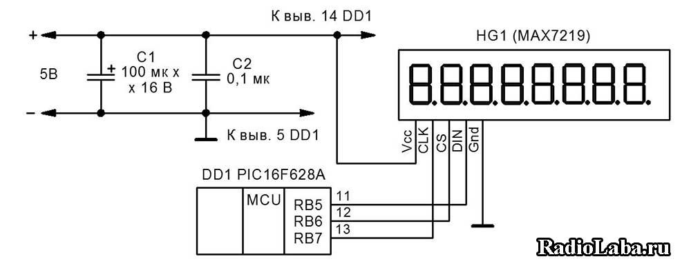 MAX7219 схема подключения к микроконтроллеру PIC16F628A