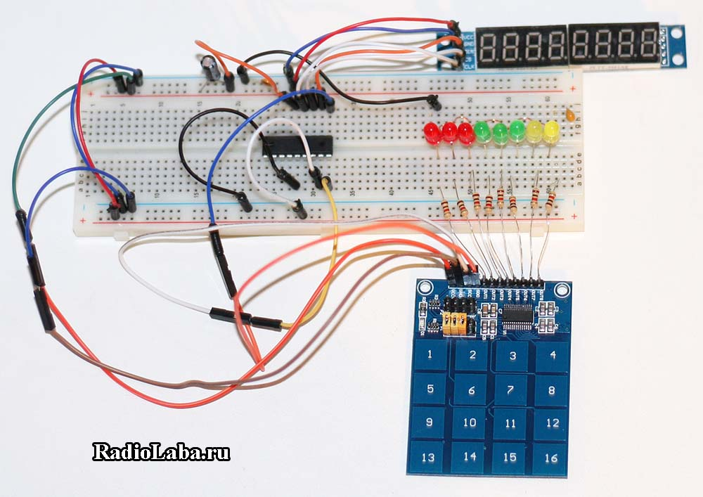 Клавиатура TTP229, макетная плата