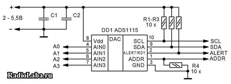 Схема модуля АЦП ADS1115
