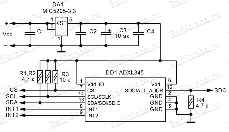 adxl345-схема модуля