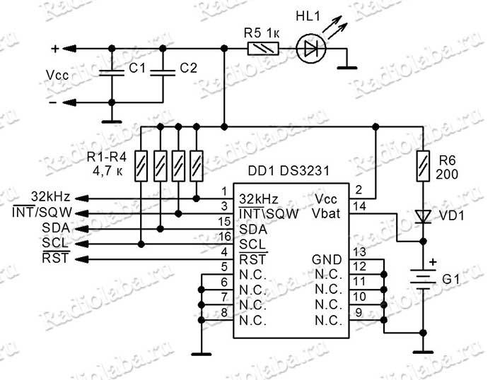DS3231 схема модуля