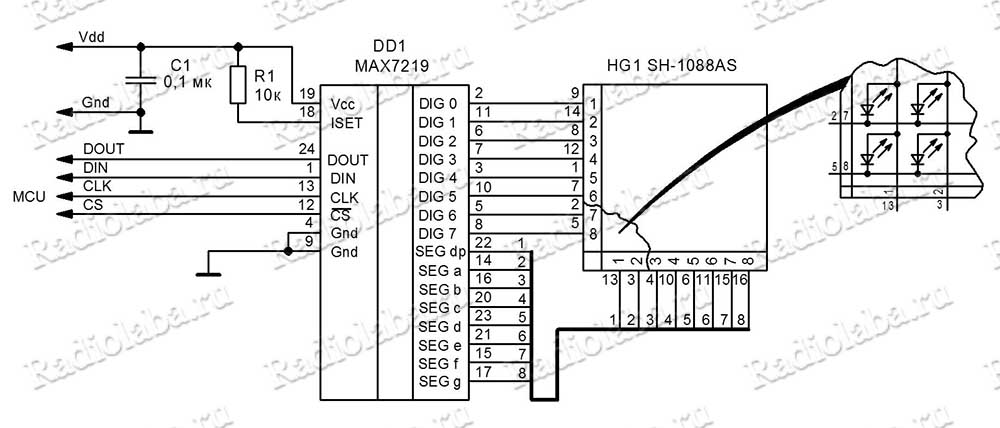 Схема матрица MAX7219