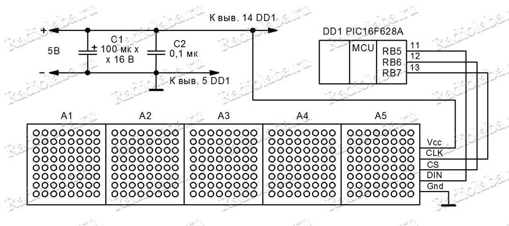 Схема подключения матриц MAX7219