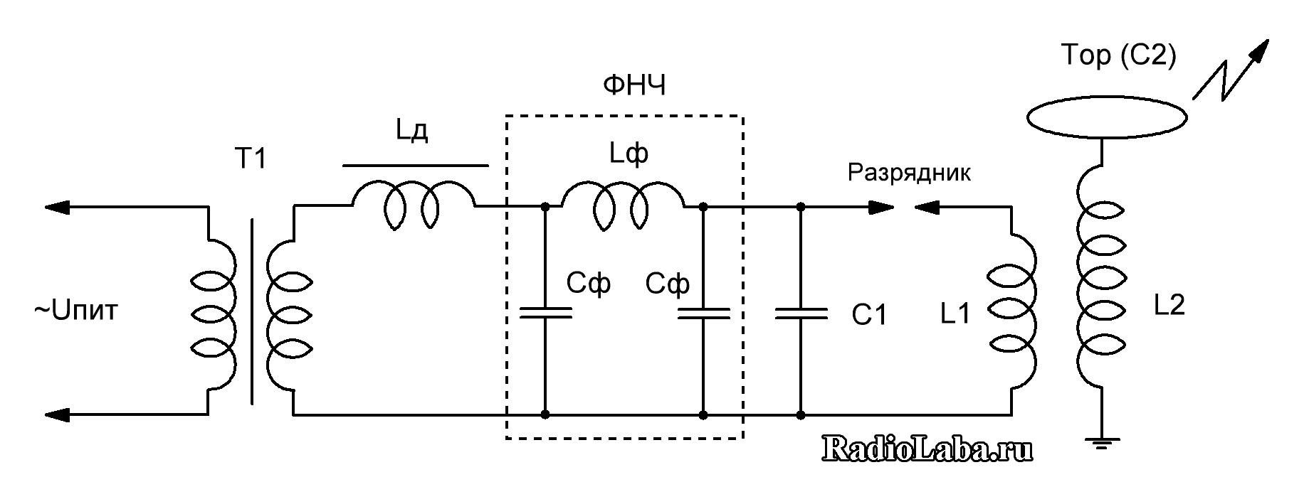 Схема катушки Тесла ACSGTC