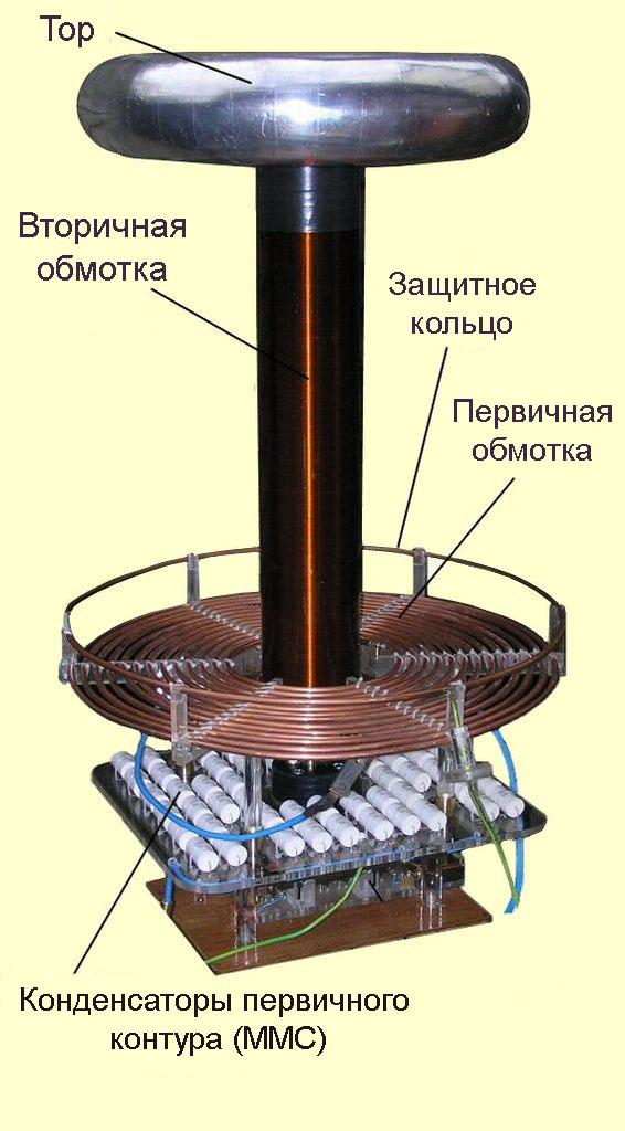 Общий вид катушки Тесла