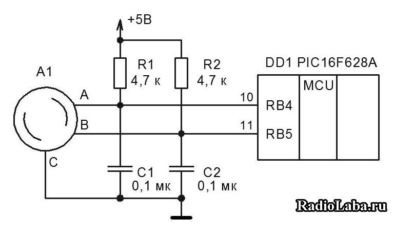 Схема подключения энкодера к МК