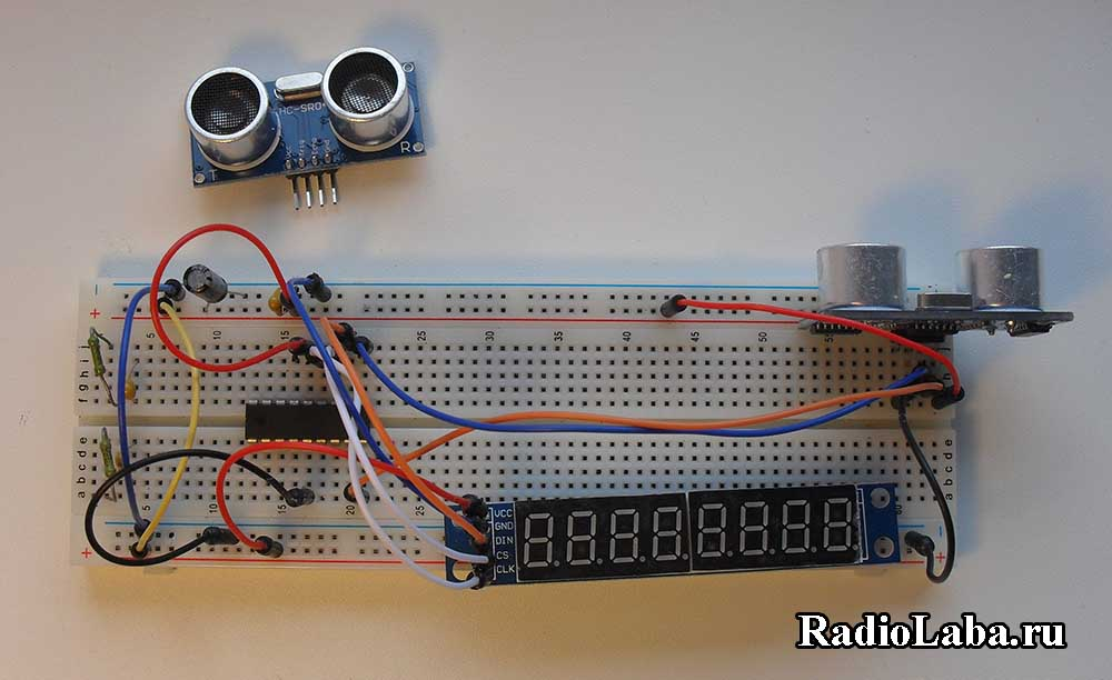 Подключение модуля HC-SR04, макетная плата
