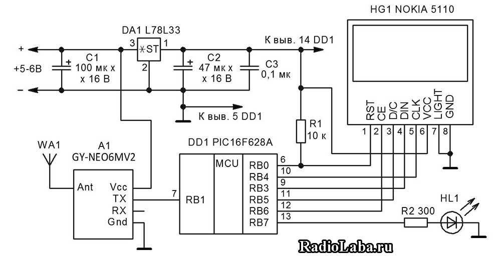 Подключение GPS модуля к микроконтроллеру, схема