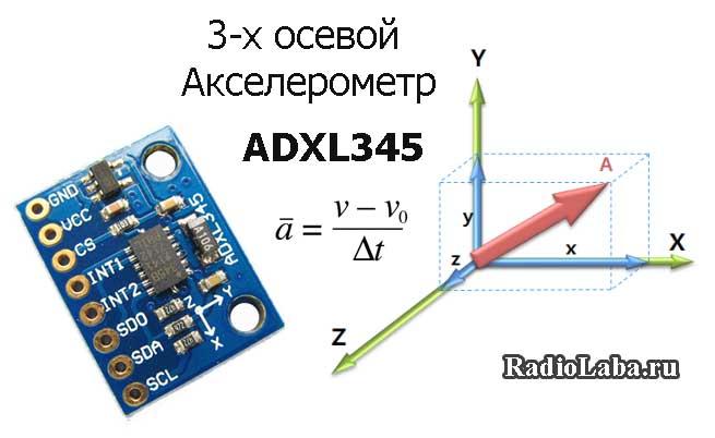 ADXL345 – подключение модуля акселерометра