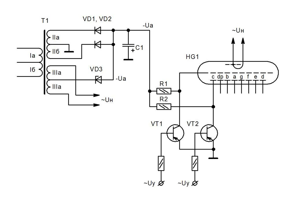 схема подключения вакуумно-люминесцентных индикаторов
