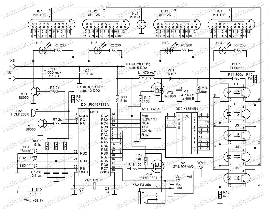 часы на газоразрядных индикаторах схема